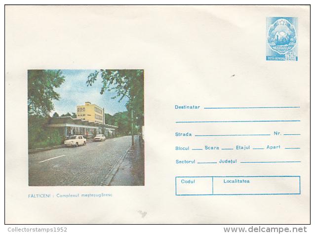 30914- FALTICENI- HANDICRAFT COMPLEX, CAR, COVER STATIONERY, 1981, ROMANIA - Entiers Postaux