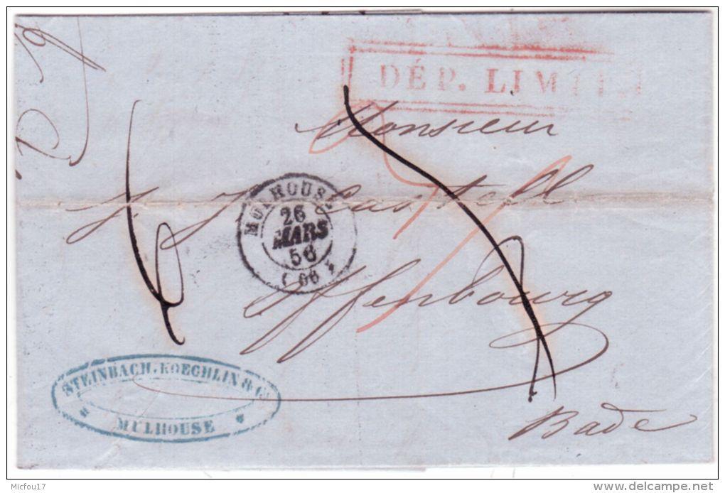 1856- Lettre De Mulhouse ( Ht Rhin ) Cad T15 Pour Offenbourg ( Bade )  DEP. LIMITE Encadré - Marcophilie (Lettres)