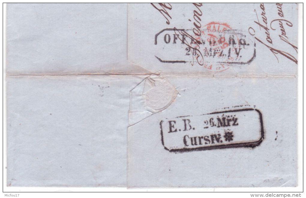 1856- Lettre De Mulhouse ( Ht Rhin ) Cad T15 Pour Offenbourg ( Bade )  DEP. LIMITE Encadré - Postmark Collection (Covers)
