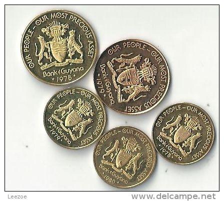 Pièces Bank Guyana :1 Et 5 Cent - Guyana