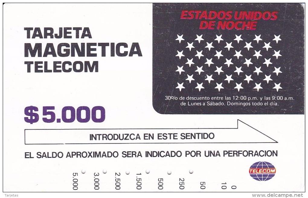 TARJETA DE COLOMBIA DE TELECOM DE $5000 USA DE NOCHE - Colombia