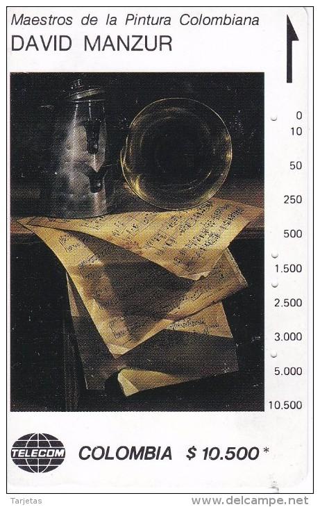TARJETA DE COLOMBIA DE TELECOM DE $10500 MAESTROS DE LA PINTURA (DAVID MANZUR) BODEGON CON PARTITURA - Colombia