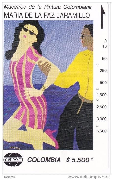 TARJETA DE COLOMBIA DE TELECOM DE $5500 MAESTROS DE LA PINTURA (MARIA DE LA PAZ JARAMILLO) PAREJA CARIBE - Colombia