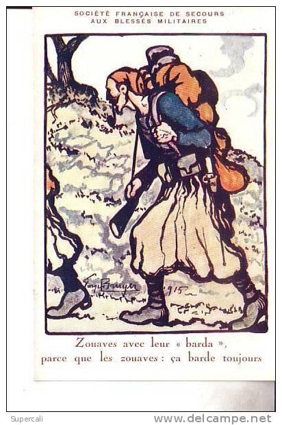 N°743  ,LOT DE 10 CARTES CROIX- ROUGE SIGNES GEORGES BRUYER  1915 . FUSILLIERS MARINS , ZOUAVES, DIABLES BLEUS ETC.... - Regimientos
