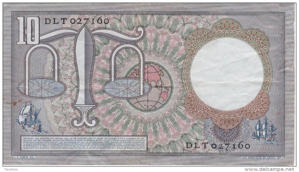 BILLETE DE HOLANDA DE 10 GULDEN DEL AÑO 1953  (BANKNOTE) HUGO DE GROOT - 10 Florín Holandés (gulden)