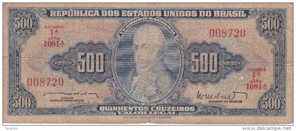 BILLETE DE BRASIL DE 500 CRUZEIROS DEL AÑO 1962 (BANK NOTE) - Brasil