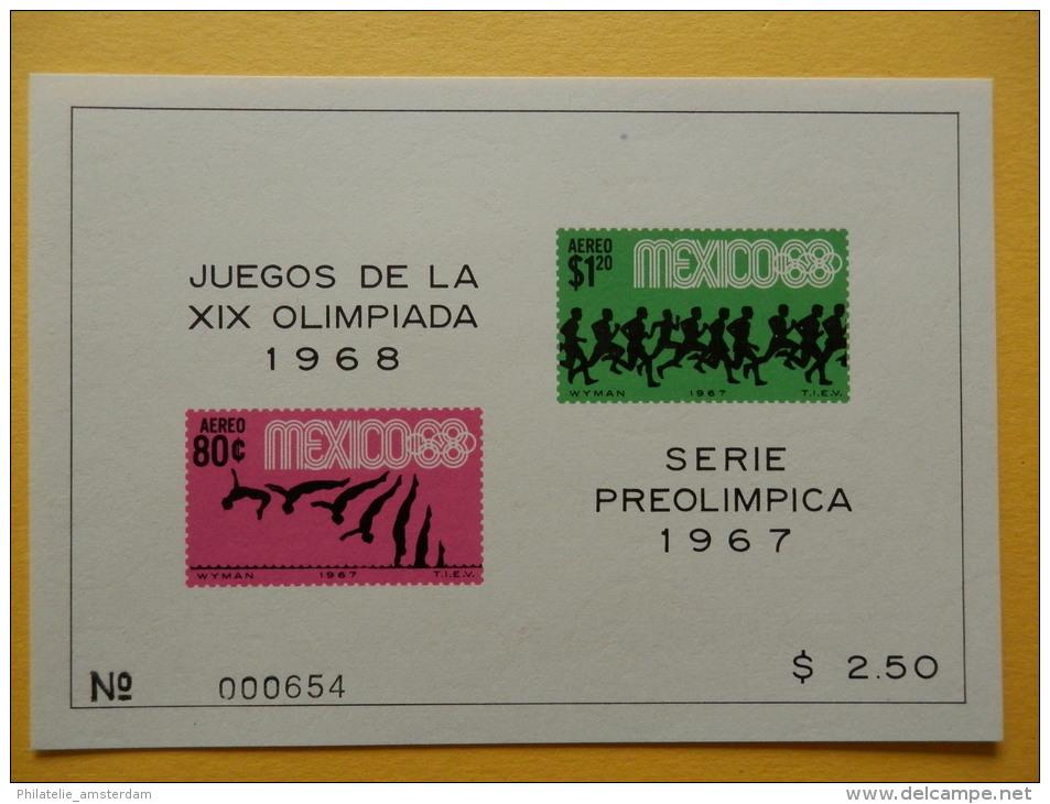 Mexico 1967, PRE-OLYMPICS MEXICO: Mi 1245-53, Bl. 7-10, ** - Summer 1968: Mexico City