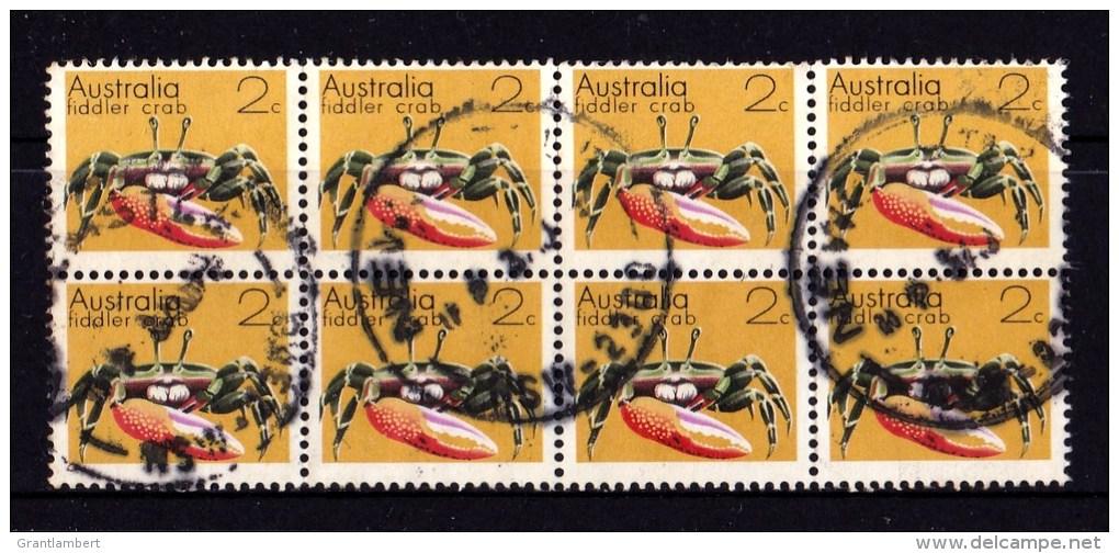 Australia 1973 Marine Life 2c Fiddler Crab Block Of 8 Used - - Used Stamps