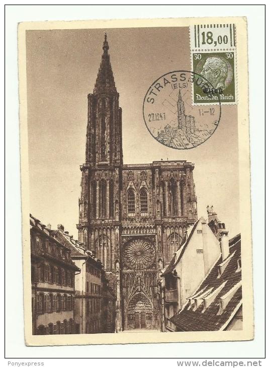Cachet Illustré Strassburg Sur 30 Pf Sur Carte Cathédrale De 1941 - Marcophilie (Lettres)