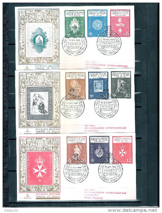 3 FDC Ordre De Malte 1966 -Série Complète - Malte (Ordre De)