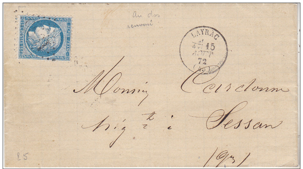 1872 Lettre De Layrac(47) Pour Sessan Au Verso Convoyeur Station Ligne Inversée.rare. Tb état. - Marcophilie (Lettres)