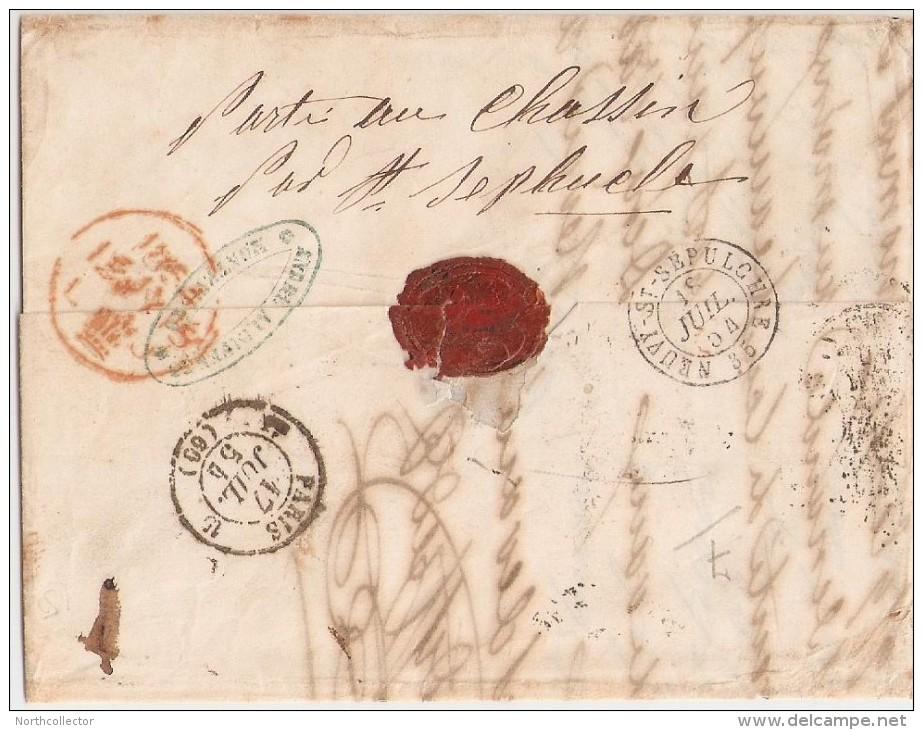 1854 - Transatlantic Stampless Uruguay To France - Italia
