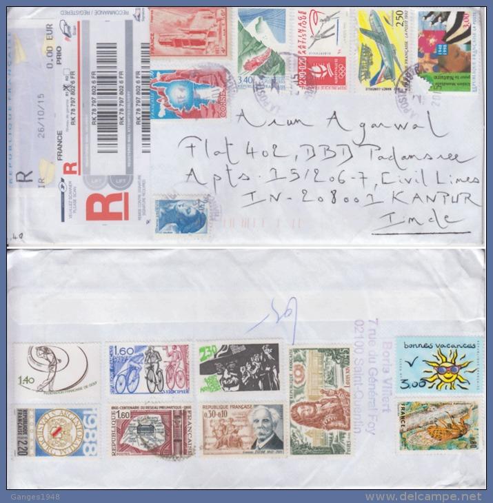 France  2015  Registered Mail Envelope To India  # 86833 - France