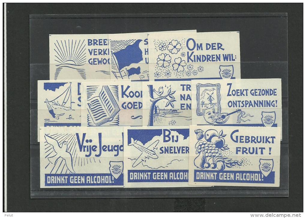 Série 11 D'étiquettes Contre L'alcool - Néerlandais - Matchbox Labels
