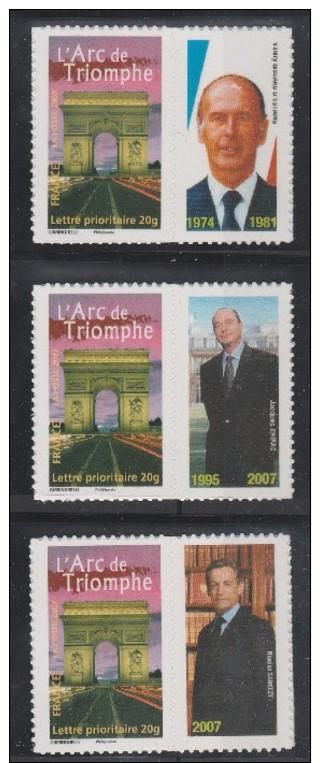 Serie Des Présidents De La Véme République Encore En Vie Ou En Fonction à La Parution Du Timbre,Voir Le Scan. - Personnalisés