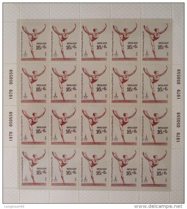 GYMNASTIQUE ATHLETIQUE 1979 - 5 FEUILLETS NEUFS ** - YT 4585/89 - MI 4830/34 - NUMEROTES ET MILLESIMES - 1923-1991 USSR