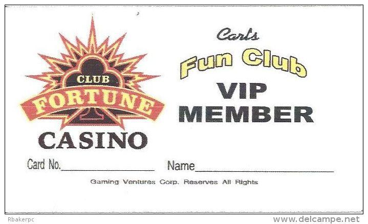 Club Fortune Casino Paper Carl´s Fun Club VIP Member Card - Casino Cards
