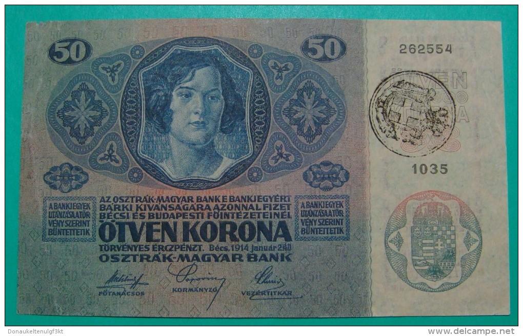 RARE *CITA DI FIUME* ITALIA YUGOSLAVIA 50 KRONEN  ND 1918 (OLD DATE 1914), HIGH QUALITY, PICK - S113a, ORIGINAL SEAL - Joegoslavië