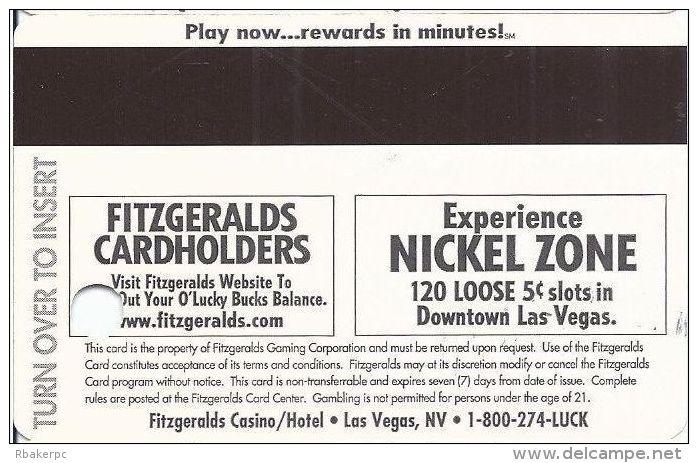 Fitzgerald´s Casino Las Vegas, NV - Paper Introductory Card - Casino Cards