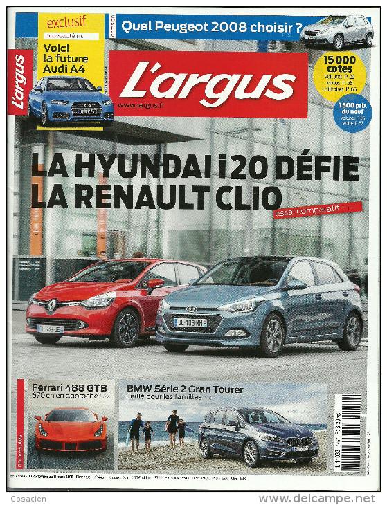 L'argus 4457, La Côte Des Voitures D'occasion, Essai Hyundai, Ferrari, BMW, Peugeot 2008 - Auto/Motor