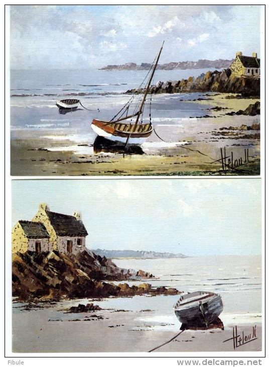 Bretagne Lot De 6 Cartes MARINES Aquarelles De HELOU JC - Bretagne