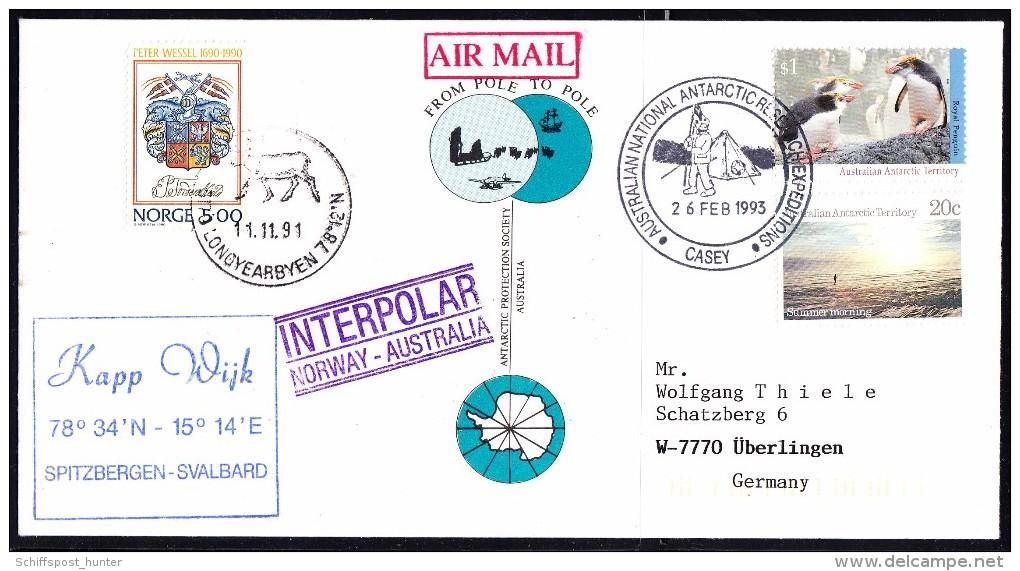 ARCTIC-ANTARCTIC, AAT, CASEY+ Norge Longyearbyen 1991/1993, FROM POLE TO POLE,look Scan !! 23.10-17 - Antarctische Expedities