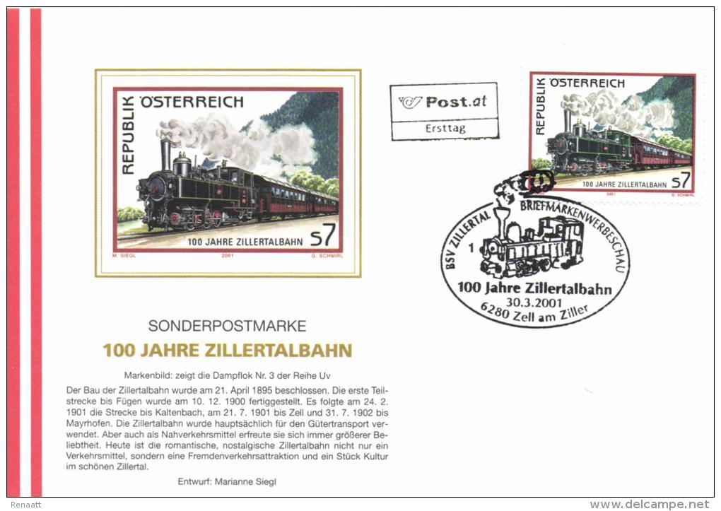 Austria 2001 FDC Zell Am Ziller, Train, 100 Year Zillertalbahn, Steam Train - Trains