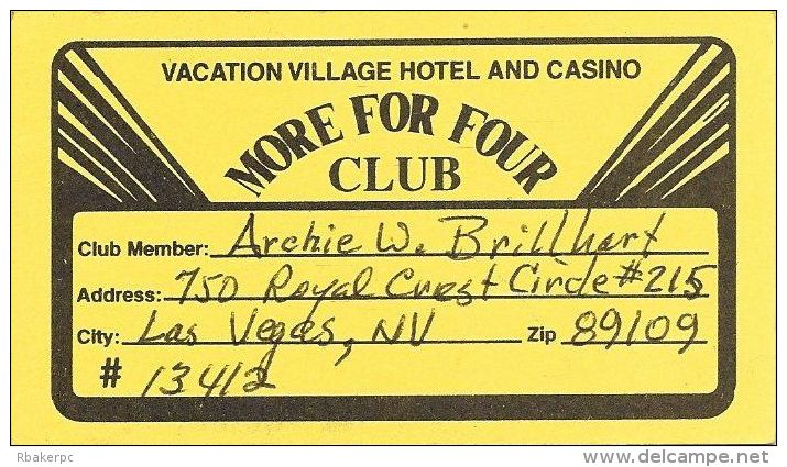 Vacation Village Casino Las Vegas Paper Card - Casino Cards