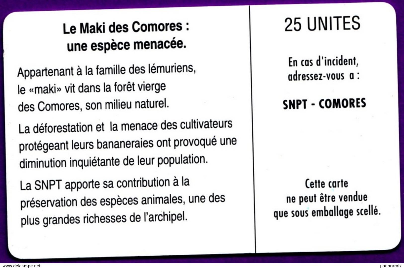 Télécarte Comores °° 25 Unités .7. - Maki Des Comores Espèce Menacée :: Sans Numéro Rouge Verso. * T B E - Comores