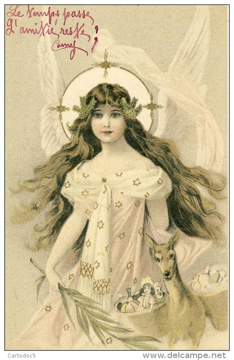 Ange Feminin Avec Une Biche Chargée De Paniers De Jouets    Cpa - Anges