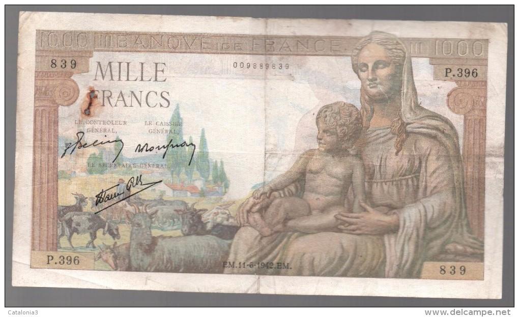 FRANCIA - FRANCE = 1000 Franc 1942 P-102 - 1 000 F 1942-1943 ''Déesse Déméter''