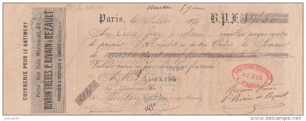 Lettre Change 5/5/1876 RIVAIN & BEZAULT Cuivrerie Fonderie à Longué 49 Rue Folie Méricourt Paris Pour Menton - Lettres De Change
