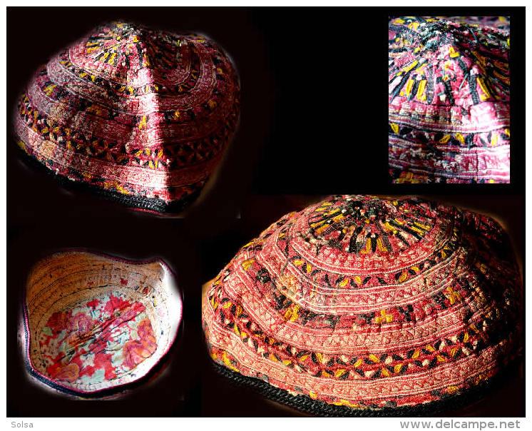 Ancienne  Coiffe Brodée TJUBETEIKA De Jeune Garçon Ouzbekh En Fil De Soie/ Old Uzbek Headdress - Headdresses, Hats, Caps