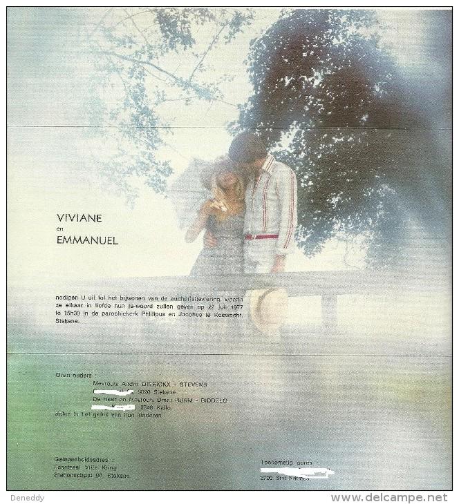 Huwelijksaankondiging 22 Juli 1977 Koewacht - Stekene. - Boda