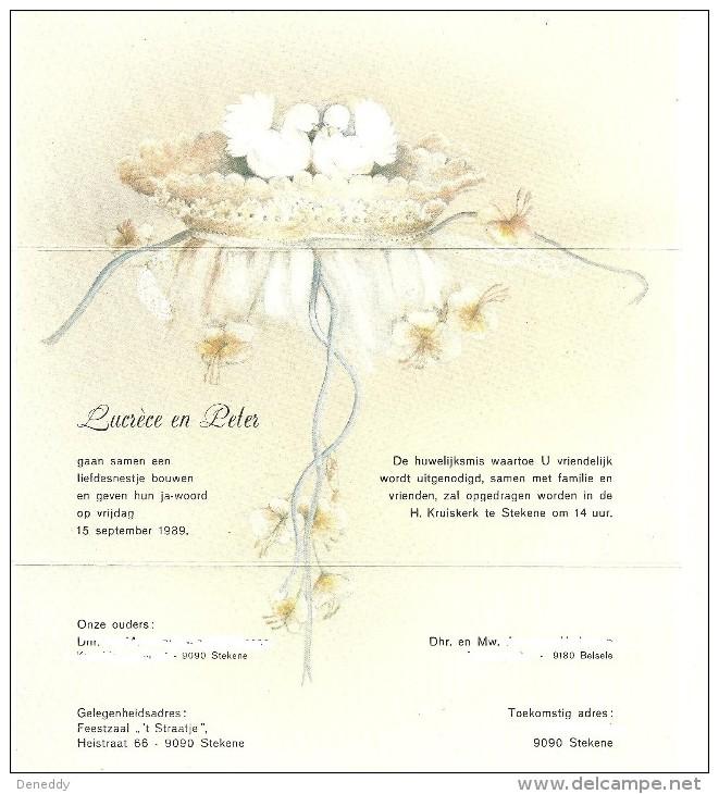 Huwelijksaankondiging 15 September 1989 Stekene. - Boda