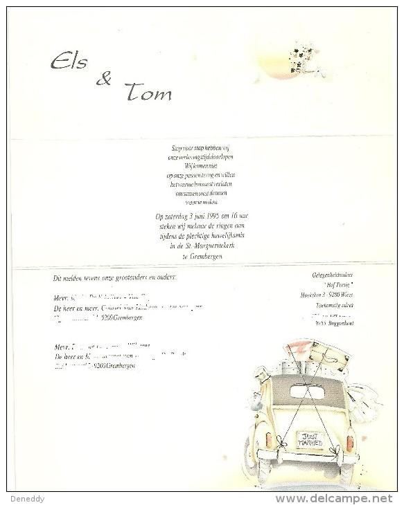 Huwelijksaankondiging 3 Juni 1995 Grembergen. - Boda