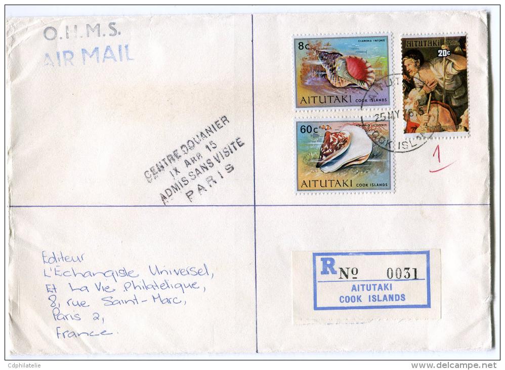 AITUTAKI LETTRE RECOMMANDEE PAR AVION DEPART AITUTAKI 25 MY 76 POUR LA FRANCE - Aitutaki