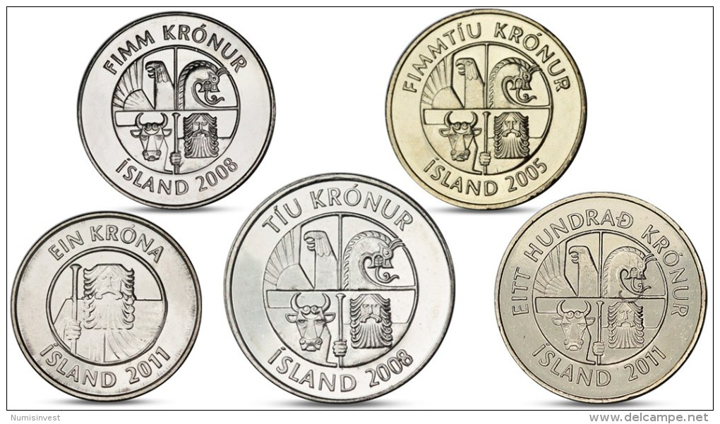 ICELAND 1, 5, 10, 50, 100 KRONUR 5 COINS SET UNC - Iceland