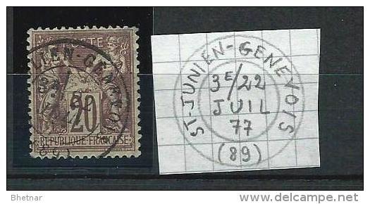 """YT 67 """" Sage Type I 20c. Brun-lilas """" 1876 CAD St-Julien-Genevois - 1876-1878 Sage (Type I)"""