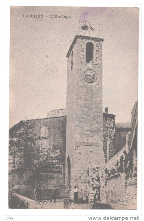 CP CABRIES L'Horloge (13 Bouches Du Rhône) - Autres Communes