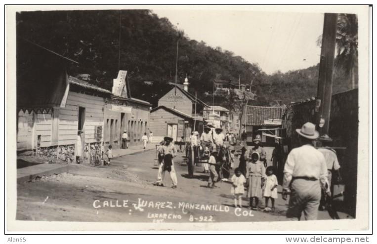 Manzanillo Mexico, Town Street Scene Calle Juarez, C1910s Vintage Postcard - Messico