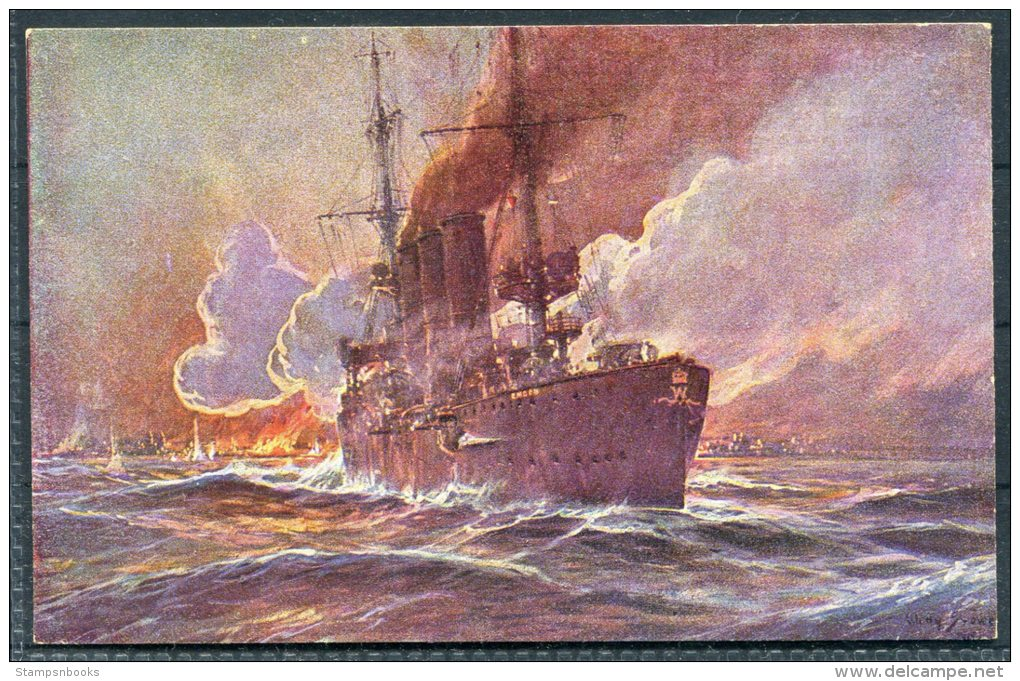 Willy Stower Warship Postcard - Warships