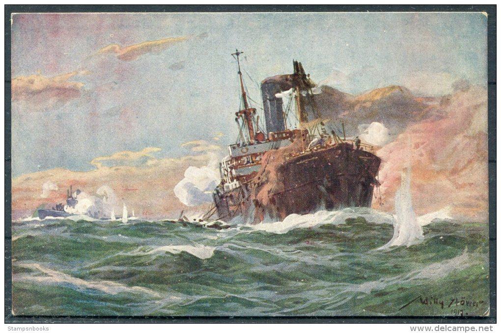 Willy Stower Warship U-Boot Postcard - Warships