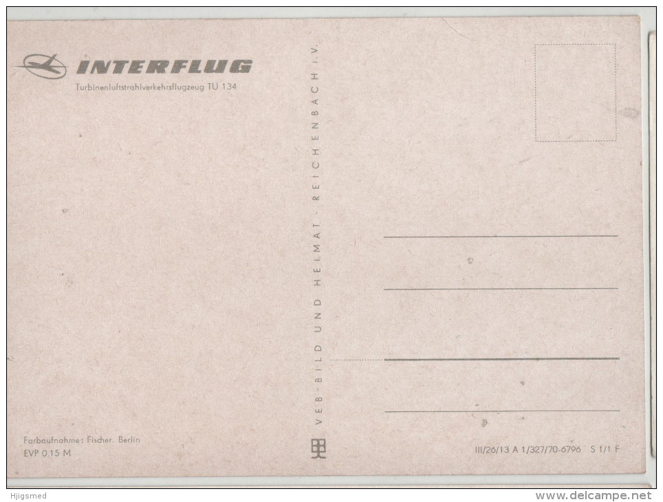 Plane Airplane Flugzeug TU 134 Interflug Berlin Germany Post Card Postkarte Karte Carte Postale POSTCARD - 1946-....: Modern Era