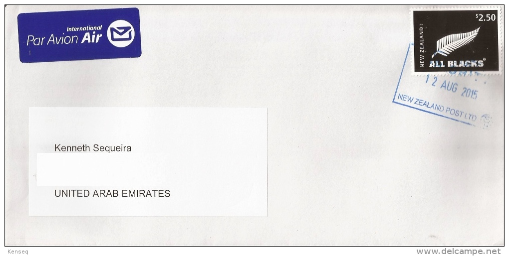 New Zealand 2015 Used Cover (upu) - All Blacks Rugby / Silver Fern - New Zealand