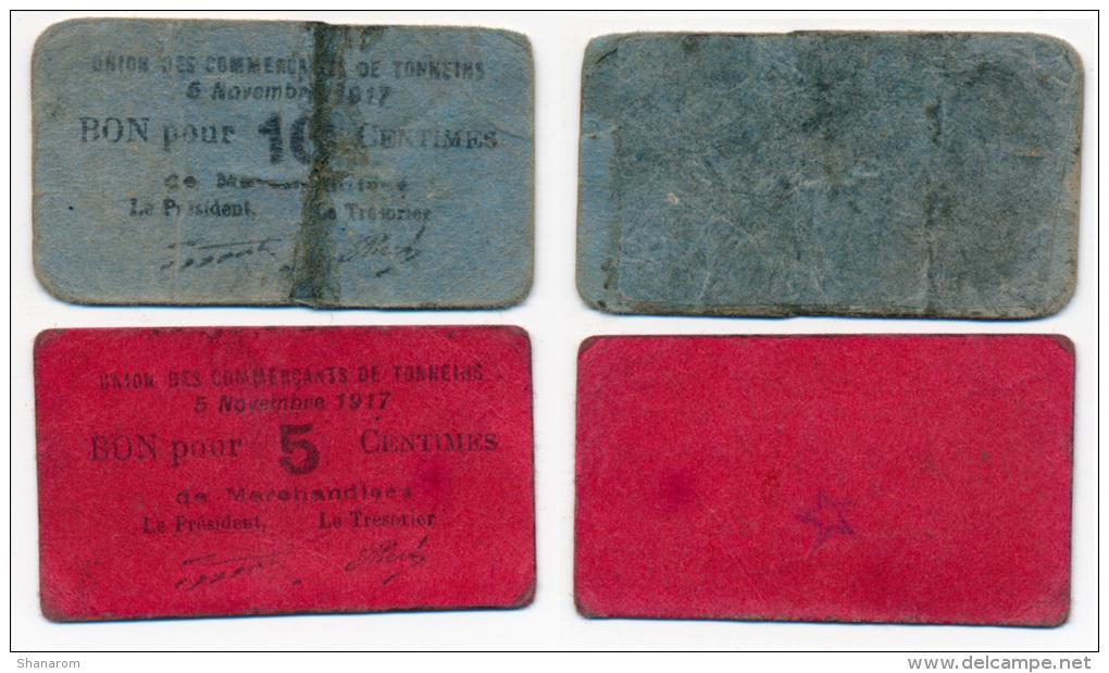 1914 / 1918 // TONNEINS // UNION DES COMMERCANTS// Bons De 5 & 10 Centimes - Bons & Nécessité