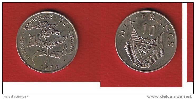Rwanda  //   10  Francs  1974  //  état  TTB  //  KM # 14.1 - Rwanda