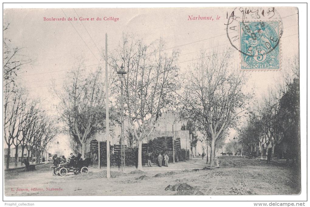Aude 11 - NARBONNE Joli Plan Sur Les Boulevards De La Gare Et Du College Avec Voiture Ancienne Animation Janson - Narbonne
