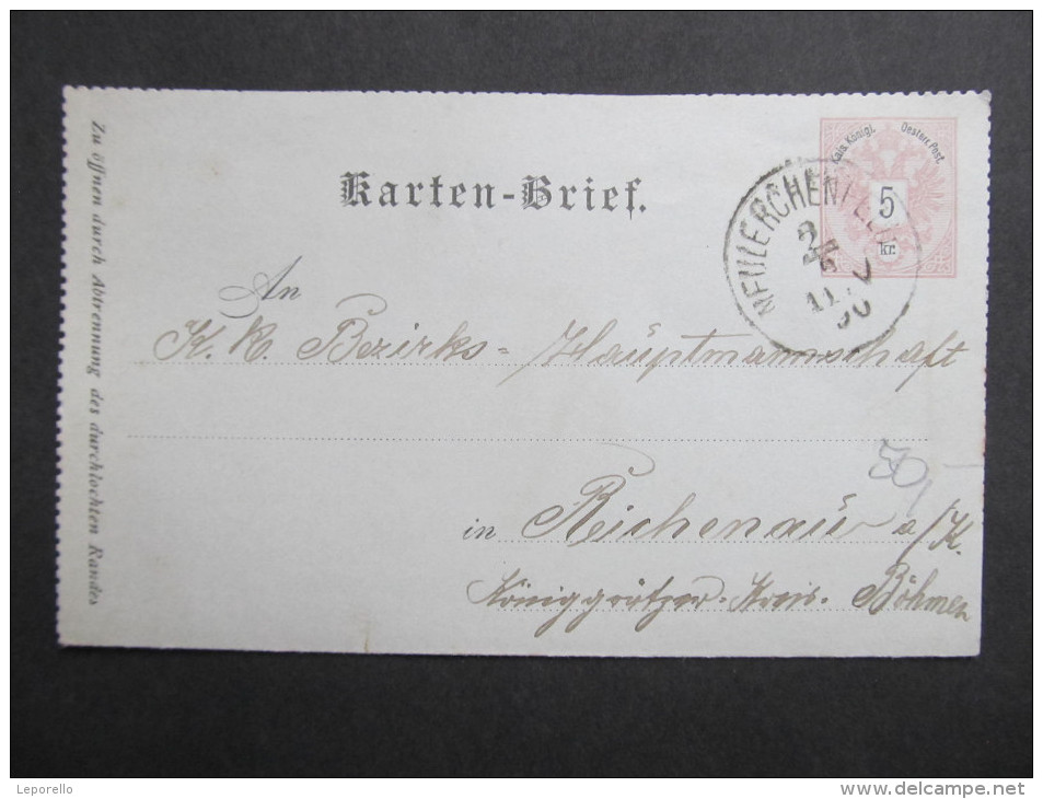 GANZSACHE Kartenbrief Neulerchenfeld - Reichenau A.K. 1890  //// D*18240 - 1850-1918 Imperium