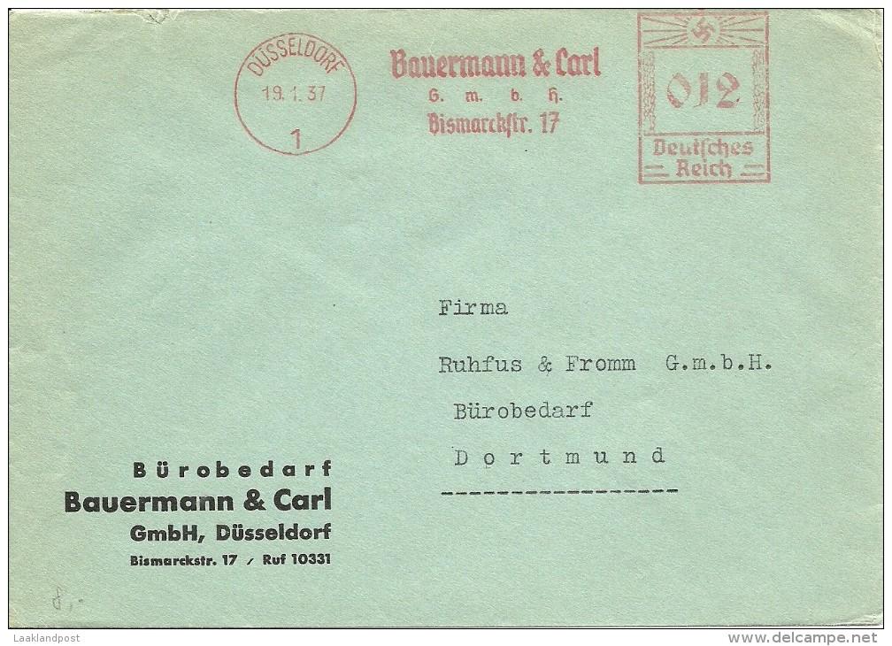 Firma Cover With Meter Bauermann & Carl, Dusseldorf 19/1/1937 - Duitsland